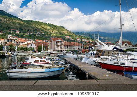 Tivat local fisherman's boats marina