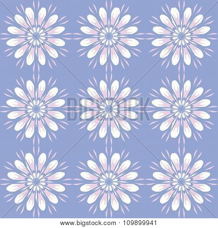 Seamless Pattern With Flowers. Vintage Texture. Monochrome Backdrop. Light Blue Background.
