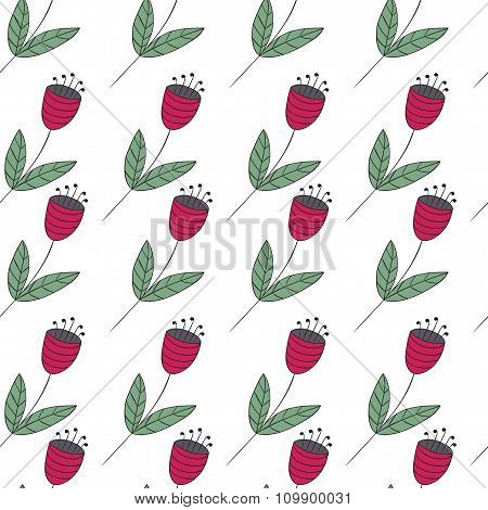 Cute Bellflowers Seamless Pattern. Vintage Background. Red Flat Flowers Isolated On White.