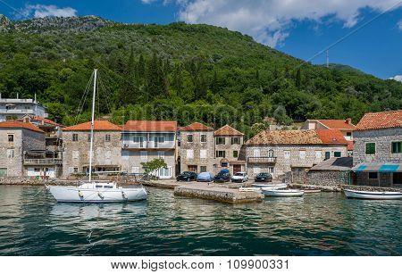 Sailing boat in the old mediterranean village