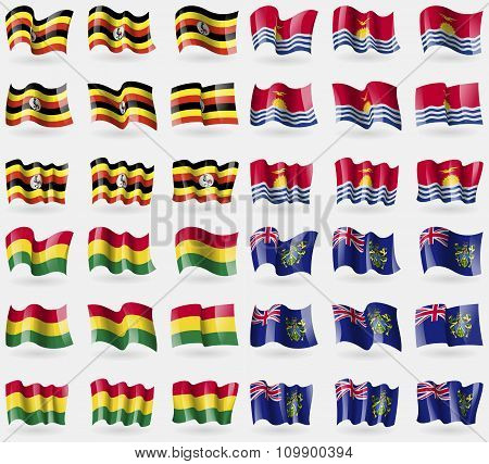 Uganda, Kiribati, Bolivia, Pitcairn Islands. Set Of 36 Flags Of The Countries Of The World.