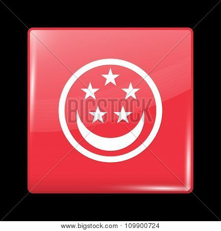 Singapore Variant Flag. Glassy Icon Square Shape