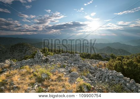 Sunrise in the Dinaric mountains, Croatia