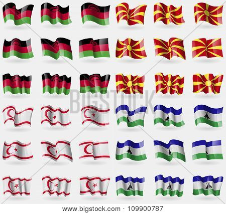 Malawi, Macedonia, Turkish Northern Cyprus, Lesothe. Set Of 36 Flags Of The Countries Of The