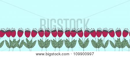 Banner With Flowers. Red Flat Bellflowers Seamless Border. Isolated Over Blue. Floral Background.