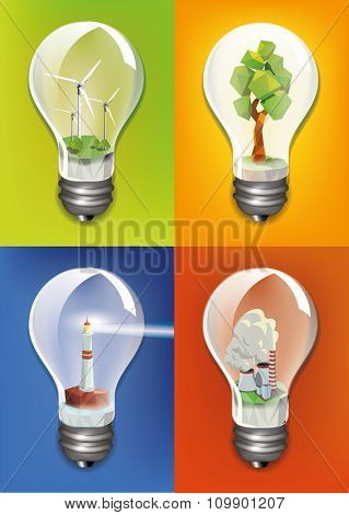 Ecology concept design, buildings and nature sign inside the bulb .Vector illustration