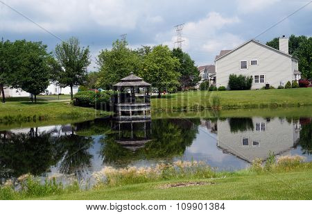 Small Suburban Lake with a Gazebo