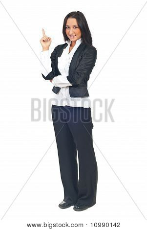 Young Business Woman Pointing Up