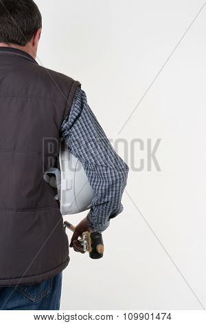 Handsome Engineer With Helmet Isolated On White