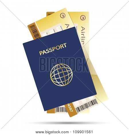 Passport and Airline Ticket isolated on white background. Illustration