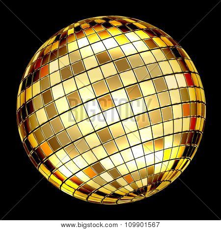 Golden Disco Ball on a black background. Illustration