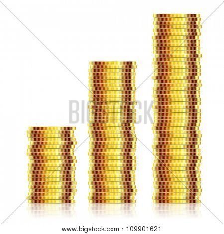 Many gold coins isolated on white background. Loose Change. Illustration