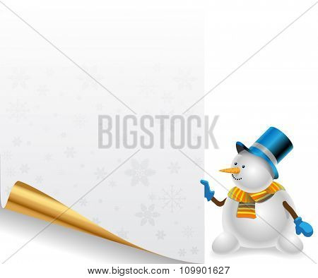 Snowman holding a decorative sheet of paper with Christmas background. Illustration