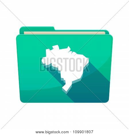 Long Shadow  Binder With   A Map Of Brazil