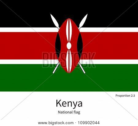 National flag of Kenya with correct proportions, element, colors