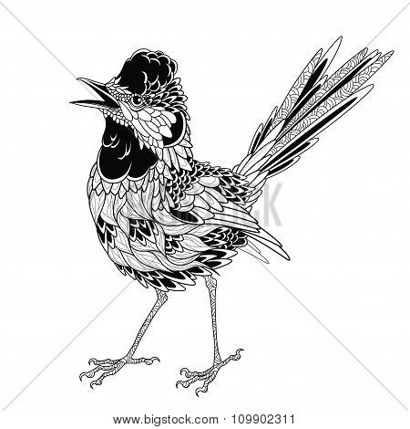 Bird tattoo. psychedelic, zentangle style. vector illustration