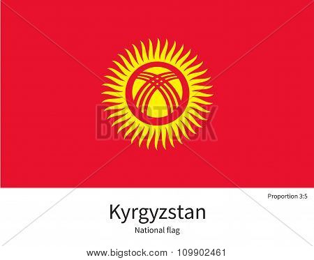 National flag of Kyrgyzstan with correct proportions, element, colors