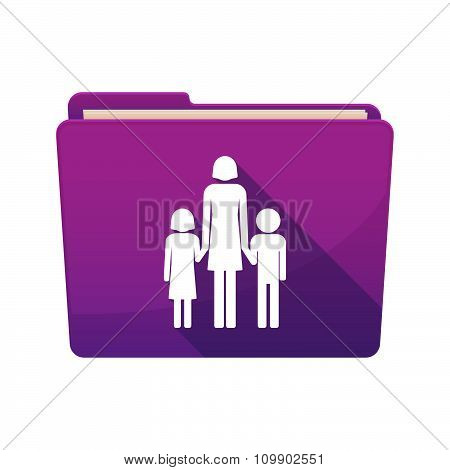 Long Shadow  Binder With  A Female Single Parent Family Pictogram
