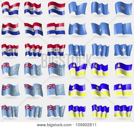 Paraguay, Somalia, Tuvalu, Butyatia. Set Of 36 Flags Of The Countries Of The World.
