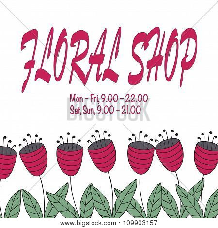 Emblem For Floral Shop, Studio, Wedding Florist, Landscape Designer. Abstract Bellflowers.