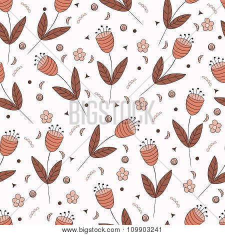 Bellflowers Seamless Pattern. Vintage Background. Orange Brown Flowers. Floral Texture.