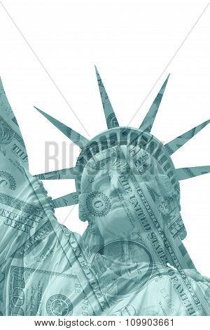 Lady Liberty And Us Dollar Bills
