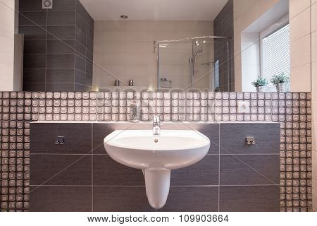 Washbasin In Elegant Bathroom