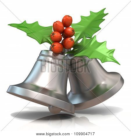 Silver Christmas bells with holly berries 3D render