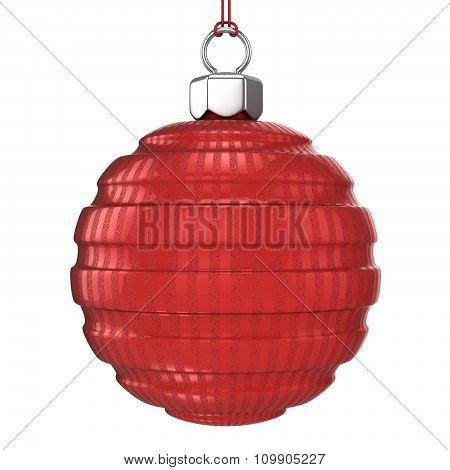 Red striped textured Christmas ball