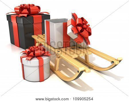 Wooden sledge with Christmas presents 3D render