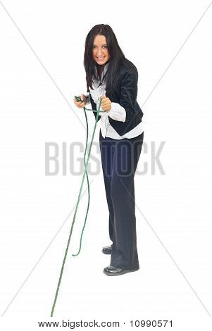 Executive Woman Pulling Rope