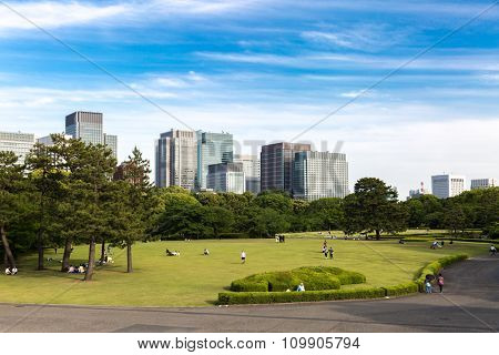 TOKYO, JAPAN - CIRCA MAY 2014: East Gardens of the Imperial Palace in Tokyo, Japan