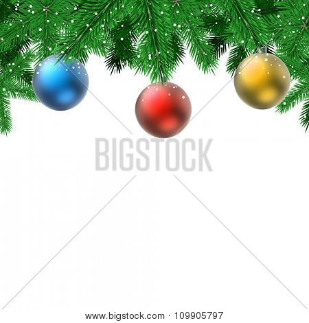 Fir branches with hanging decoration balls Christmas card with white copy space.
