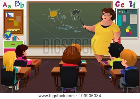 Teacher Teaching  In A Classroom