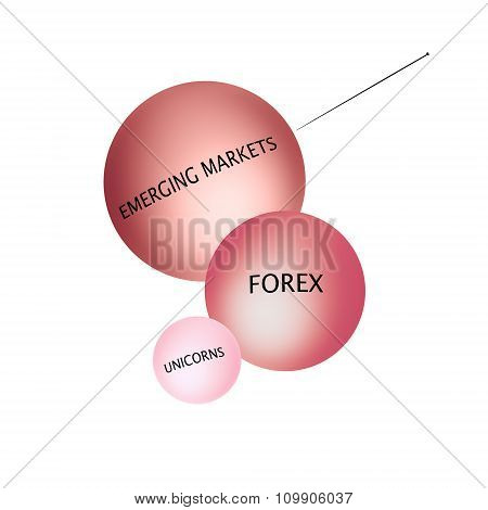 About to burst the bubbles. Financial Crisis Concept.