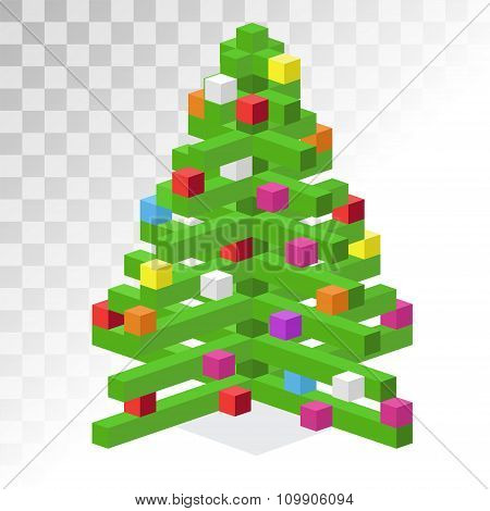 Christmas tree flat 3d isometric pixel art icon