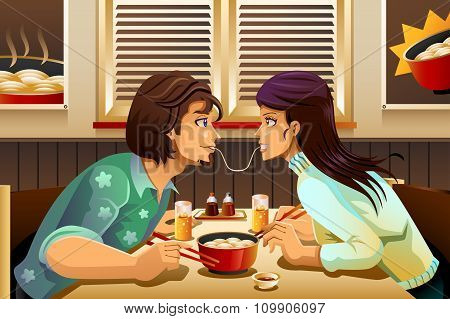 Couple Eating Noodle