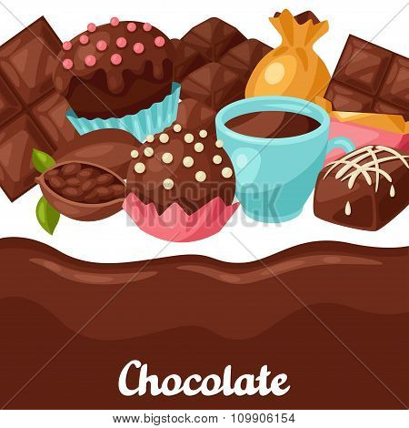 Chocolate background with various tasty sweets and candies