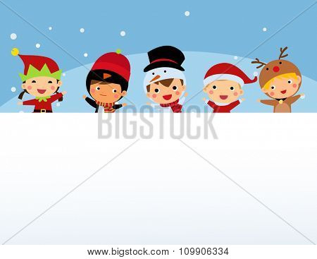 Christmas Children and Banner