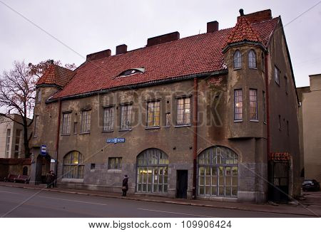 Building with a red tile roof