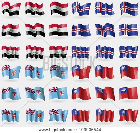 Iraq, Iceland, Fiji, Myanmarburma. Set Of 36 Flags Of The Countries Of The World.