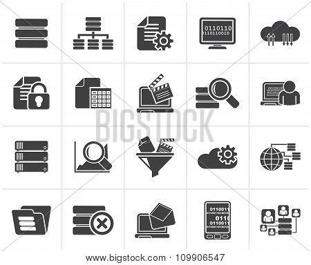 Black data and analytics icons