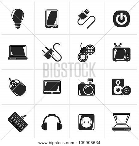 Black Electronic Devices objects icons