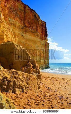 Spectacular rock formations on Benagil Beach on the Algarve coast