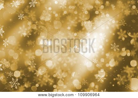 Christmas background of sparkling bokeh lights and snowflakes