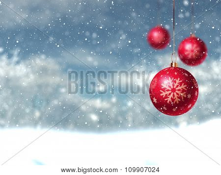 Defocussed Christmas winter landscape with hanging baubles