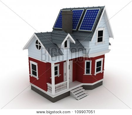3d render of Solar panels on a house