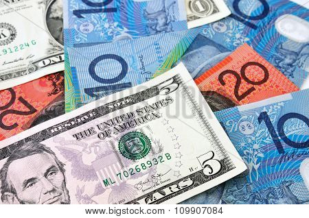 Close Up Photograph Of Us And Australian Currency