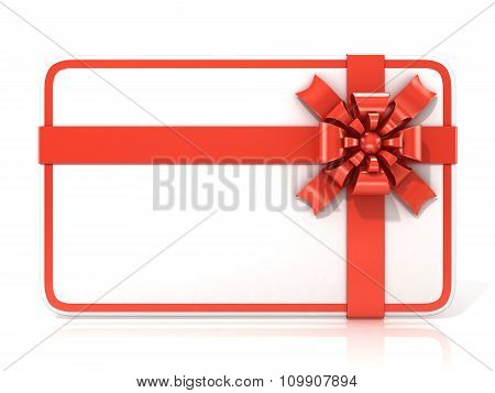 White blank gift card with red ribbon. 3D render