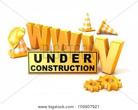 Under construction sign. 3D render